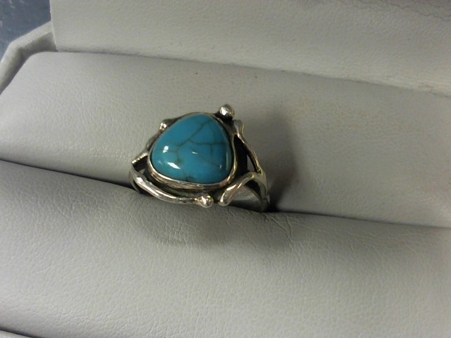 Turquoise Lady's Silver & Stone Ring 925 Silver 3.6g