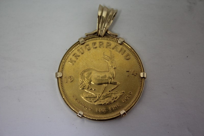 South African 1 oz. Gold Krugerand in 14k Gold Bezel