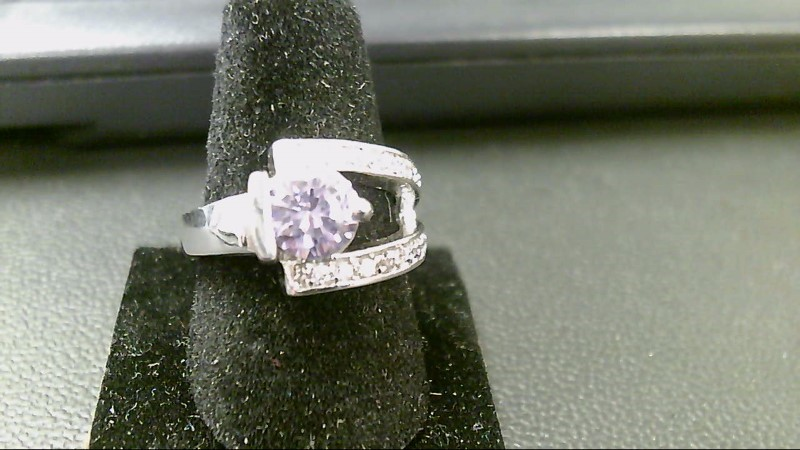 Synthetic Amethyst Lady's Silver & Stone Ring 925 Silver 5g