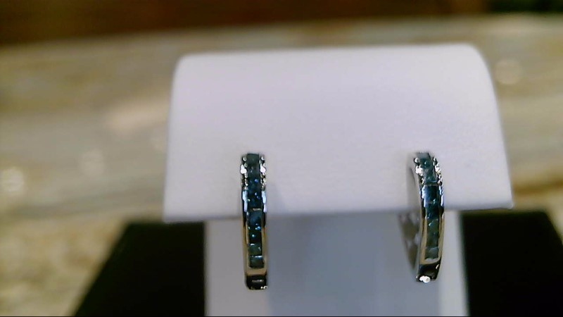 Lady's 10k white gold princess cut blue diamond heart shape earrings