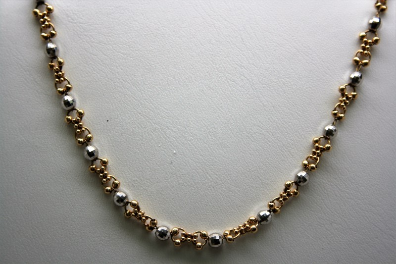 """18"""" BEADED STYLE NECKLACE 14K 2TONE GOLD"""