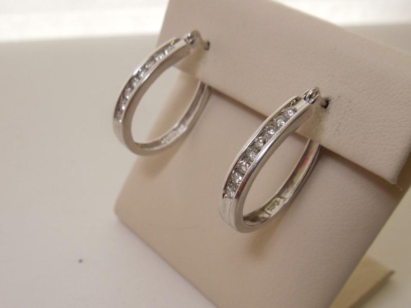 Gold-Diamond Earrings 16 Diamonds .48 Carat T.W. 14K White Gold 5g