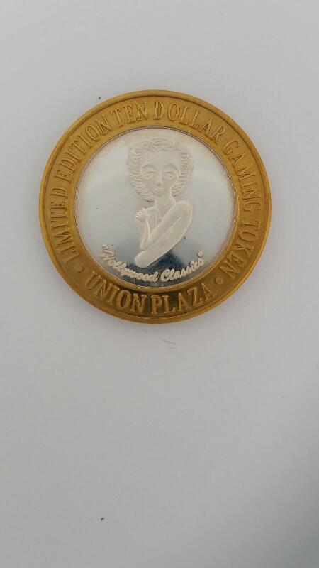 Limited Edition Union Plaza Casino Las Vegas $10 Ten Gaming Token .999 Silver