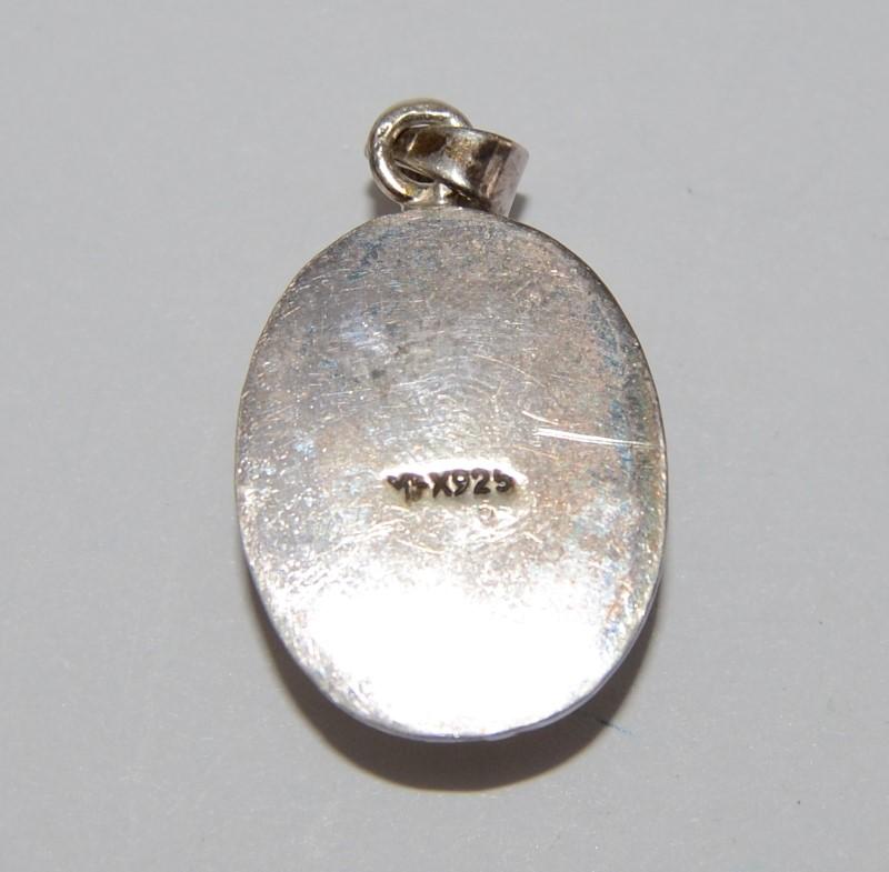 Sterling Silver Full Bezel Set, Solid Backed Oval Malachite Pendant
