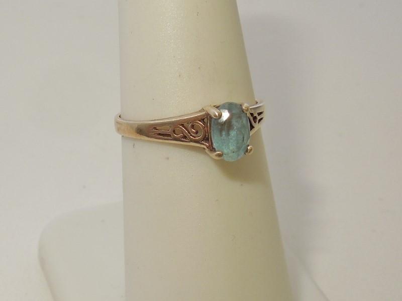 Synthetic Aquamarine Lady's Stone Ring 10K Yellow Gold 1.5g
