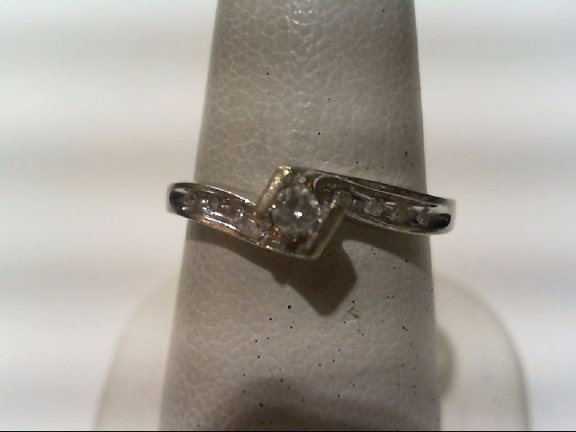 Lady's Diamond Engagement Ring 9 Diamonds .11 Carat T.W. 14K White Gold 1.8g