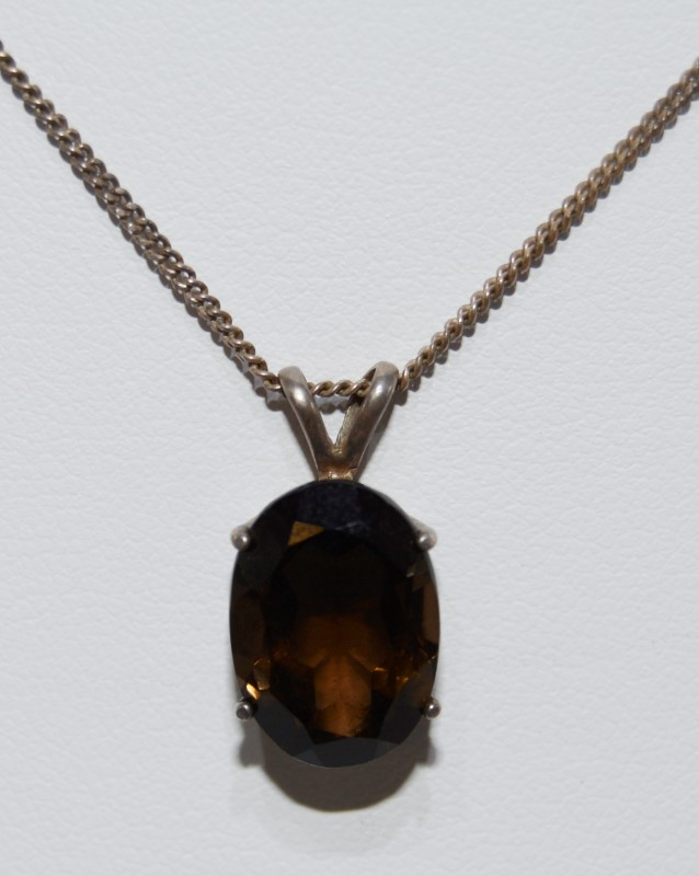 "18"" Sterling Silver Oval Smokey Topaz Pendant Necklace on Fine Chain"