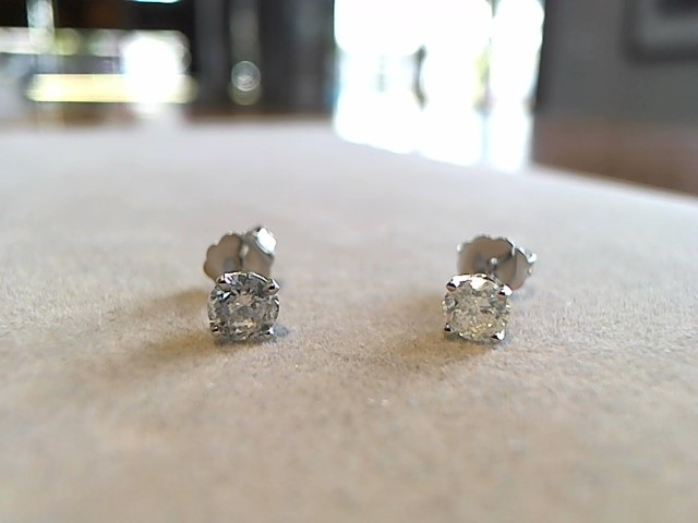 Gold-Diamond Earrings 2 Diamonds .89 Carat T.W. 14K White Gold 1g