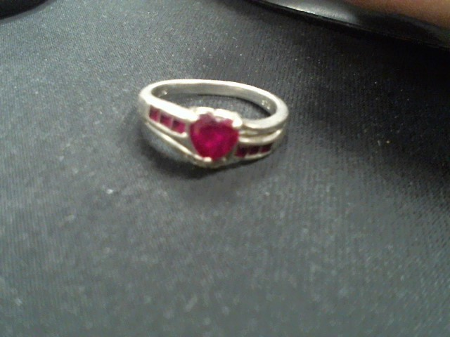 Synthetic Ruby Lady's Silver & Stone Ring 925 Silver 3g