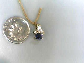 Purple Stone Gold-Stone Pendant 10K Yellow Gold 0.4dwt