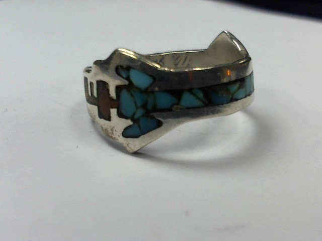 Turquoise Lady's Silver & Stone Ring 925 Silver 3.2g