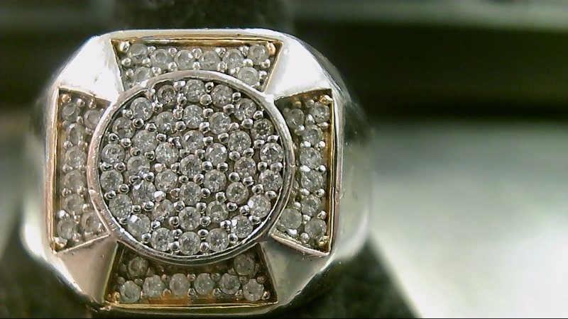 Synthetic Cubic Zirconia Gent's Stone Ring 14K Yellow Gold 13.2g