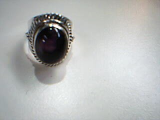 Synthetic Amethyst Lady's Silver & Stone Ring 925 Silver 8.5g Size:6