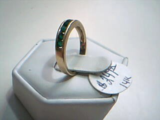 Synthetic Emerald Lady's Stone Ring 14K Yellow Gold 2.4g Size:6