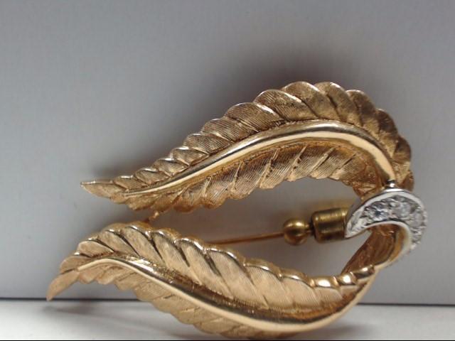 Gold-Diamond Brooch 4 Diamonds .04 Carat T.W. 14K Yellow Gold 10.8g