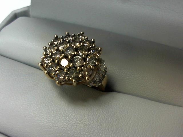 Lady's Diamond Cluster Ring 47 Diamonds 2.37 Carat T.W. 10K Yellow Gold 6.6g