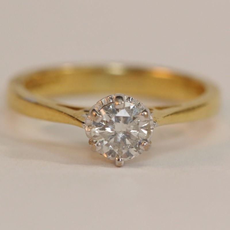 14K Y/G Heart Set Round Brilliant Diamond Solitaire Ring Size 4.8