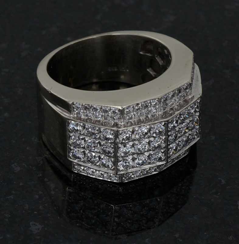 Gent's Diamond Cluster Ring 108 Diamonds 2.16 Carat T.W. 14K White Gold 9.2dwt