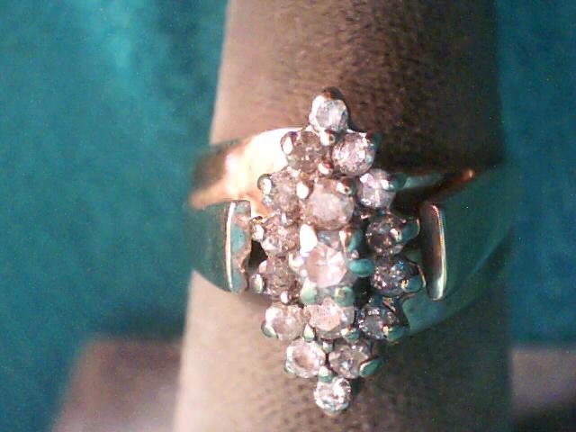 Lady's Diamond Cluster Ring 17 Diamonds .38 Carat T.W. 10K Yellow Gold 3.5dwt