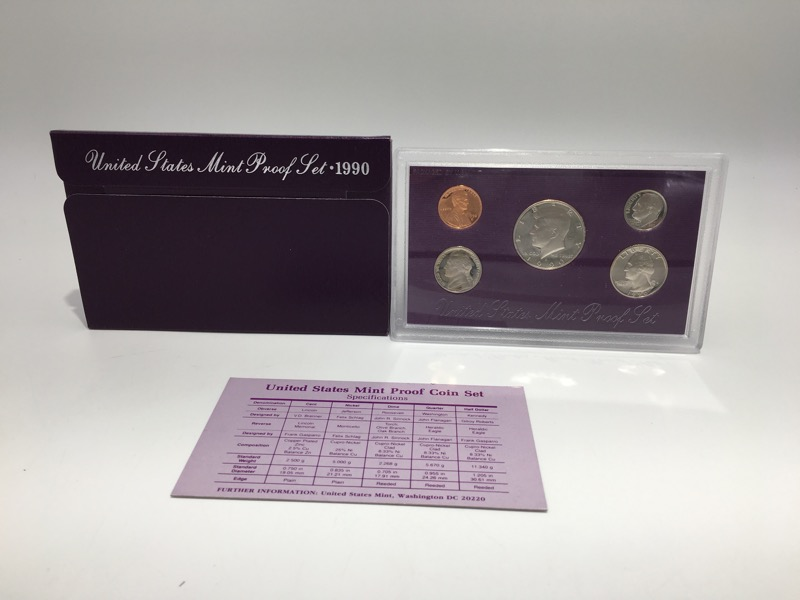 1990 S United States Proof Set Set - 5 Coins - With Box & COA