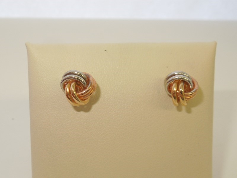 Gold Earrings 10K Tri-color Gold 0.8g