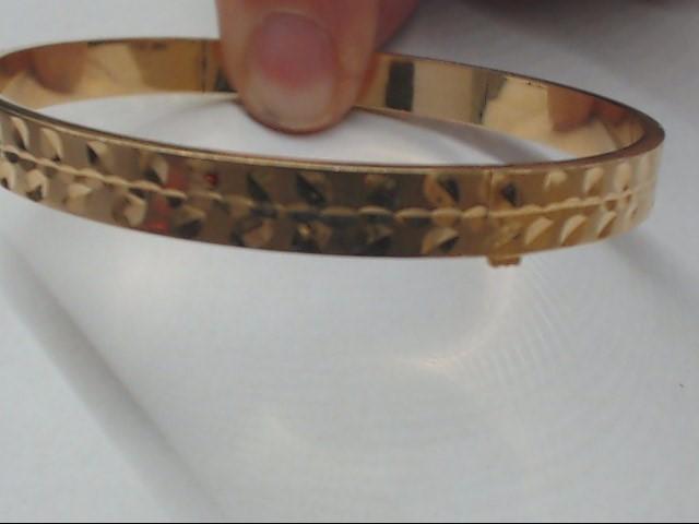 ESTATE SOLID 14K YELLOW GOLD BANGLE BRACELET FLORAL ETCH OPENS FINE