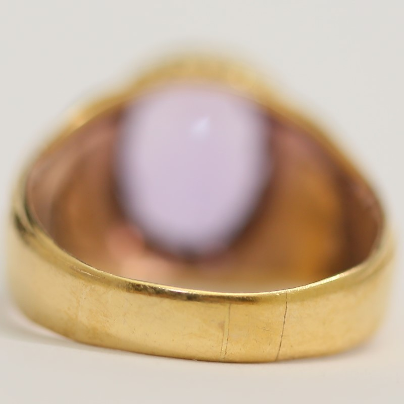 18K Yellow Gold and Amethyst Ring with Filigree Side Detail Size 12