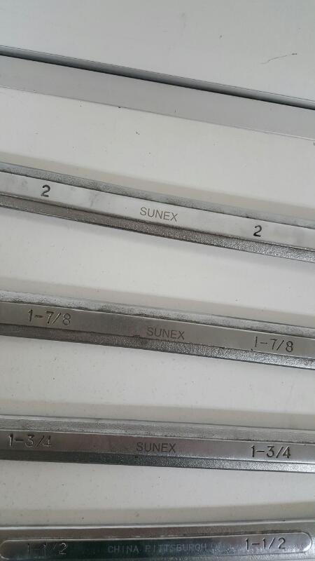 Lot of 5 Sunex Jumbo Combo Wrenches (2, 1 7/8, 3/4, 1/2, 5/16)