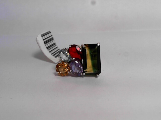 Synthetic Peridot Lady's Silver & Stone Ring 925 Silver 3.8dwt Size:7
