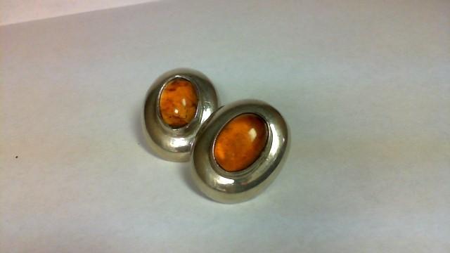 Amber Silver-Stone Earrings 925 Silver 18.1g