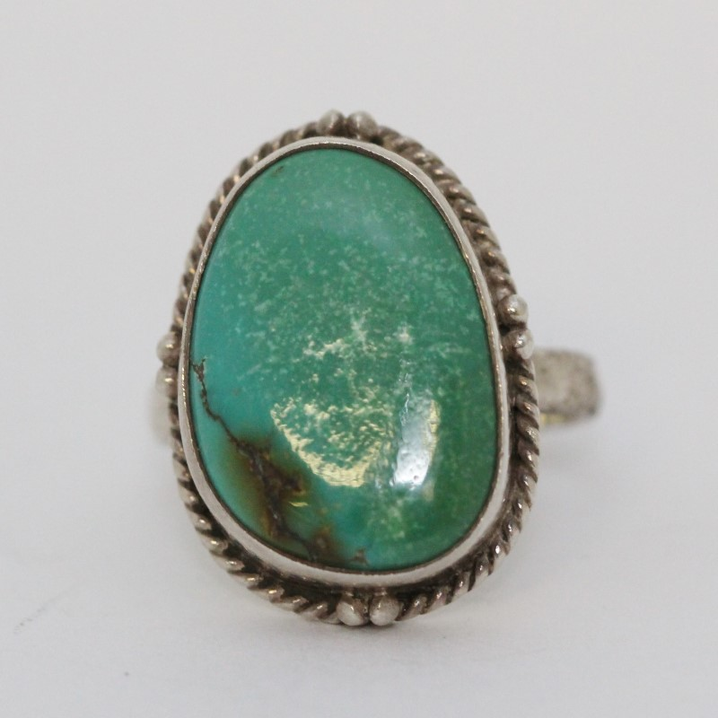 Sterling Silver Large Green Turquoise w/ Rope Detail Cocktail Ring sz 8