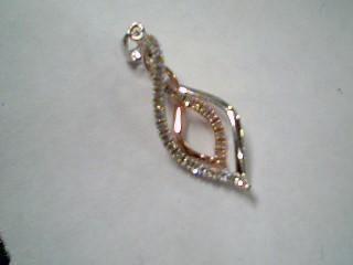 Gold-Multi-Diamond Pendant 32 Diamonds .32 Carat T.W. 10K 2 Tone Gold 1.1g
