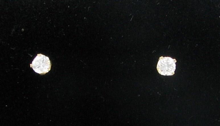 Gold-Diamond Earrings 2 Diamonds .32 Carat T.W. 14K Yellow Gold 0.41dwt