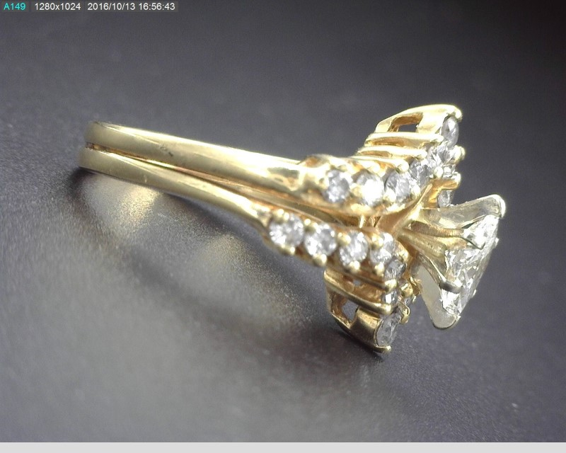 Lady's Diamond Wedding Set 25 Diamonds .88 Carat T.W. 14K Yellow Gold 5g Size:4