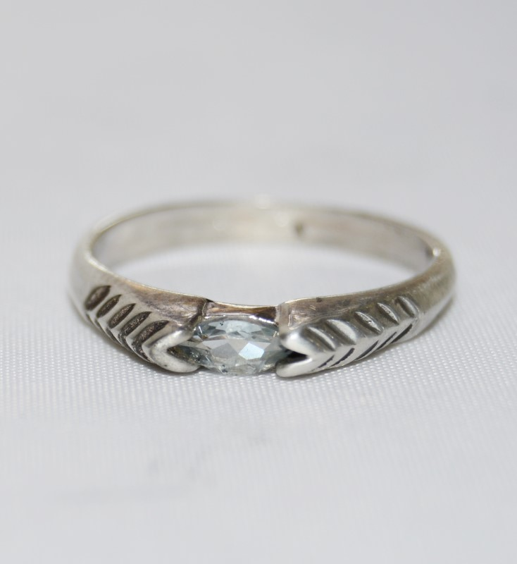 Sterling Silver Vintage Inspired Cathedral Marquise Aquamarine Ring sz 6.75