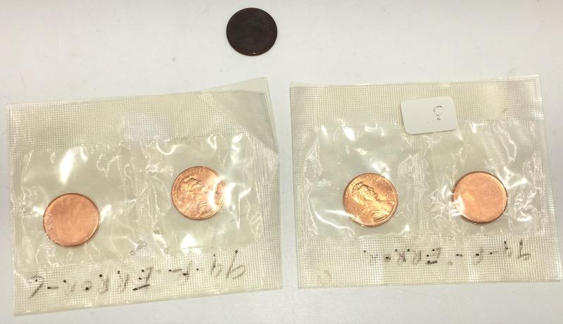Three Blank Planchet Mint Error Lincoln Cent Pennies