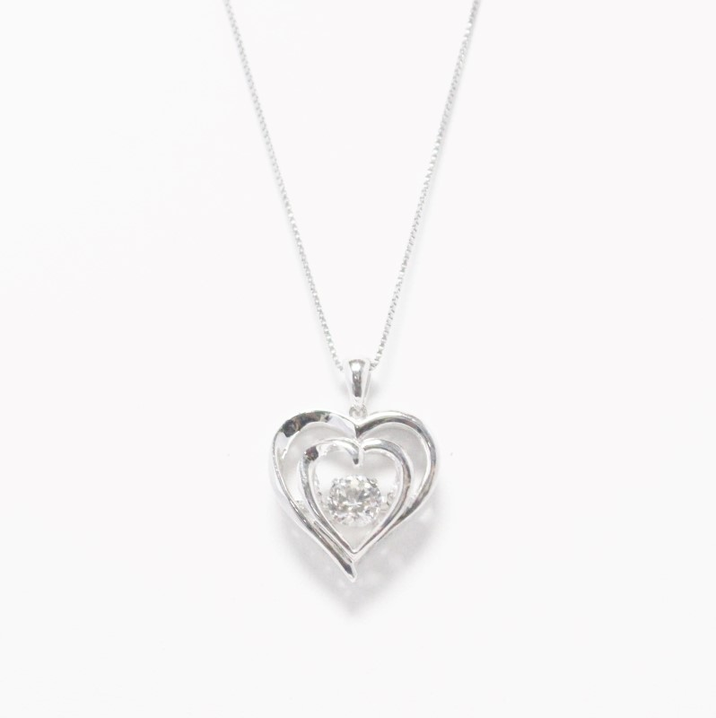 "19"" STERLING SILVER (925) DUAL HEART AND DIAMOND PENDANT NECKLACE"