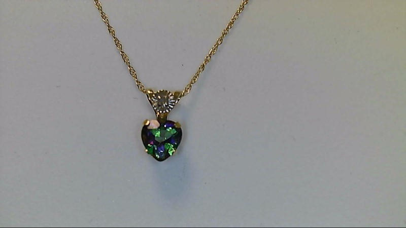 Lady's 10k yellow gold mystic topaz heart necklace