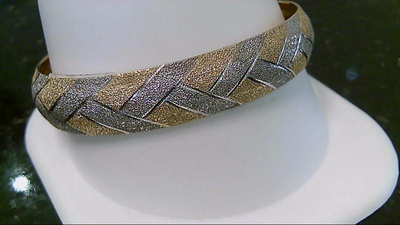 14K Yellow Gold Etched Weave Design Bracelet