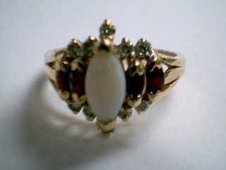 Synthetic Opal Lady's Stone & Diamond Ring 10 Diamonds .30 Carat T.W.
