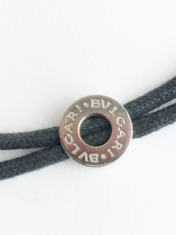Bulgari 18K White Gold PARENTESI WITH BLACK CORD 17.97g NECKLACE
