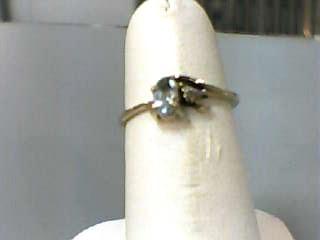 Synthetic Aquamarine Lady's Stone Ring 10K Yellow Gold 0.7dwt Size:5