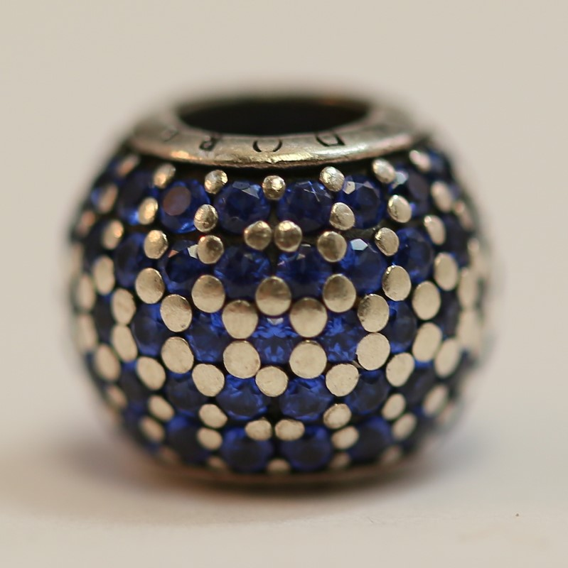 Pandora Blue Pave Crystal and Silver Charm