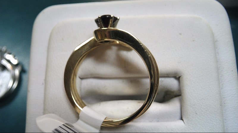 Red Stone Lady's Stone Ring 14K Yellow Gold 4.2g Size:8