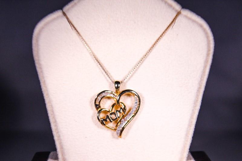 Diamond Necklace 10 Diamonds .10 Carat T.W. 10K Yellow Gold 4.6g