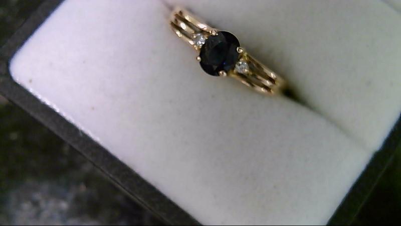 ESTATE YG 5X4 OVAL BLUE SAPP WITH 2-1MM RD DIAMOND LADIES RING