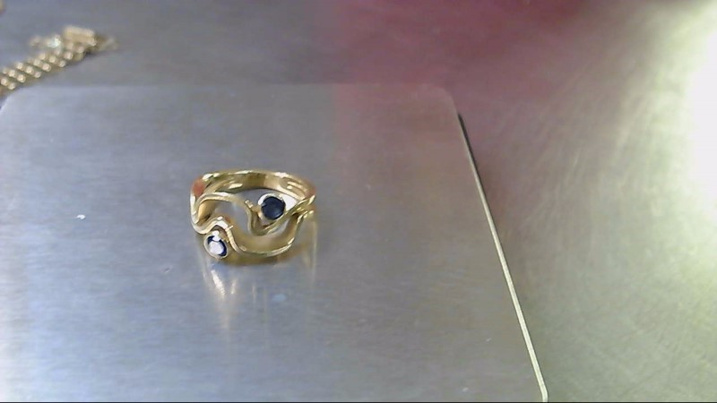 Sapphire Lady's Stone Ring 14K Yellow Gold 5.9g