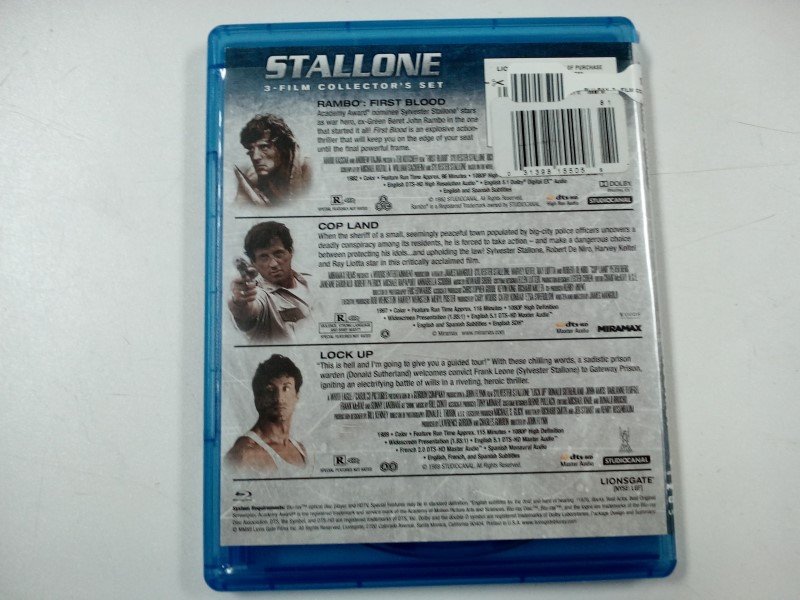 STALLONE, (3) FILM COLLECTOR SET, BLU-RAY MOVIES, 3-DISC SET