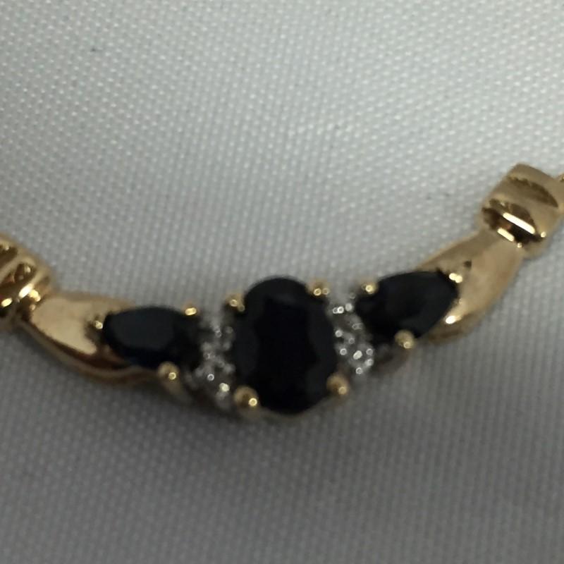 "16""SAPPHIRE GOLD-DIAMOND & STONE PENDANT 4 DIAMONDS .04 CARAT T.W."
