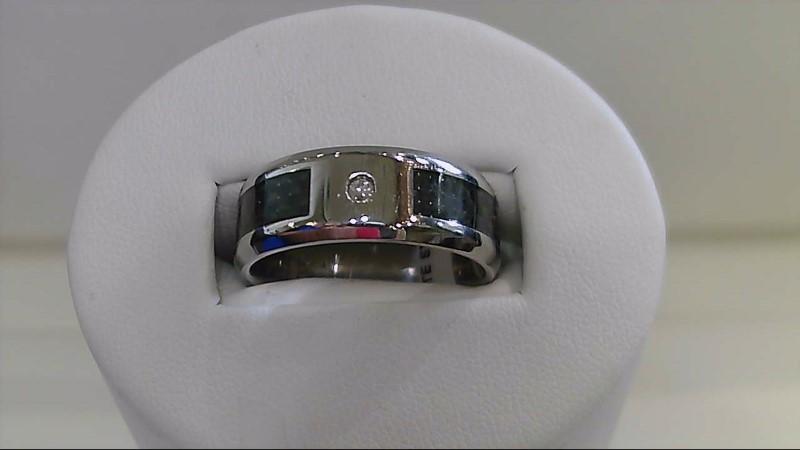 Gent's Diamond Ring 3 Diamonds .03 Carat T.W. Silver Stainless 6.9g
